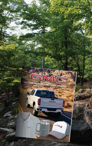 GMC Collection Flip catalog banner image with forest scene